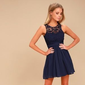 Romantic Tale Navy Blue Lace Skater Dress